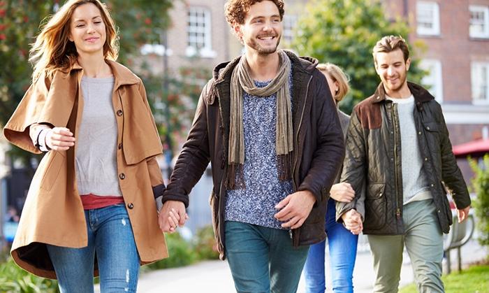 Friends walking in Boston
